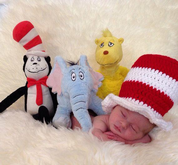 Dr Seuss Cat In The Hat Crochet Newborn Hat Infant