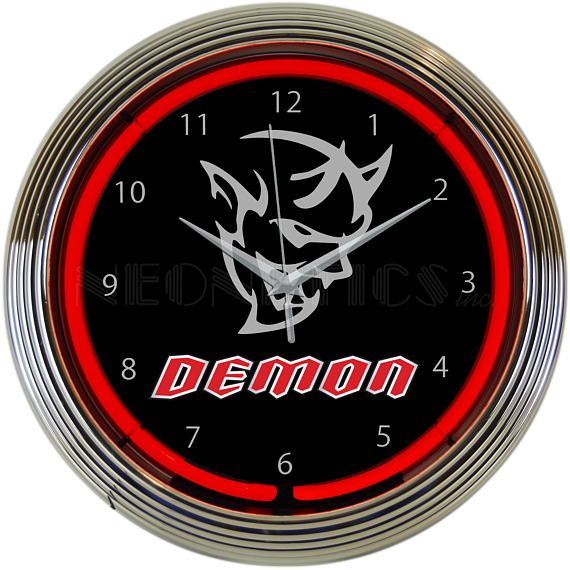 Antique Style Dodge Demon Logo With Red Neon Clock 79 99 Neon Clock Wall Clock Glass Wall Clock