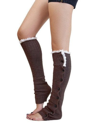 $12.99 Women Leg warmers in Brown / Lace and Button / Boot cuff / boot socks / Urban clothing / Knited leg wear / geometric dance leg warmers by URFashionista on Etsy