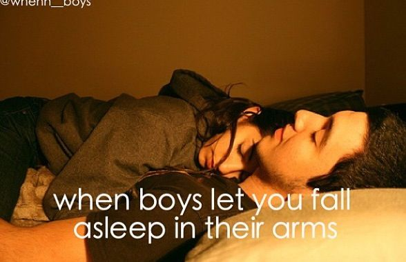 when boys let you fall asleep in their arms