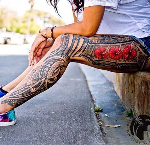 10 Polynesian Leg Tattoo Women | Best Tattoo Ideas