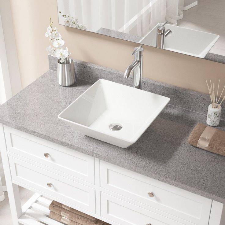 MR Direct V170 Bisque Porcelain Sink With Chrome (Grey) Faucet And Pop Up  Drain (718 Faucet)