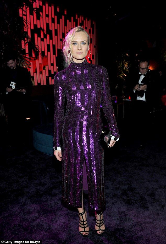 Chic:The 40-year-old Inglourious Basterds actress looked simply sensational for her turn at the bash, where she borrowed from the Eighties with her bold sequinned dress while her companion looked dashing in a tuxedo