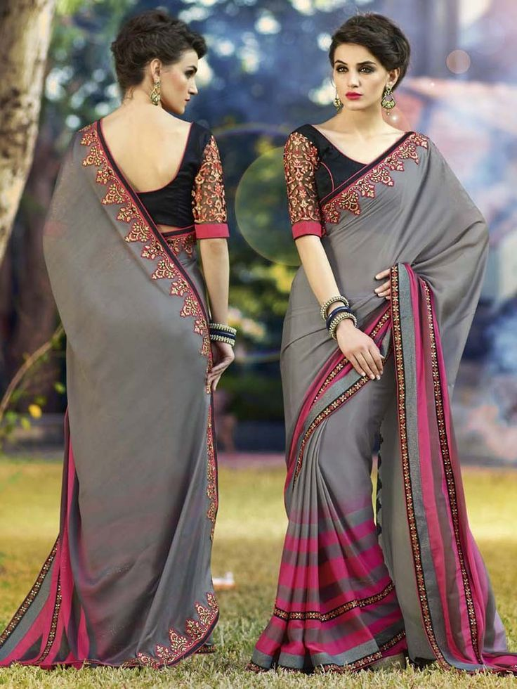 Black  with Grey  Embroidered Georgette Saree