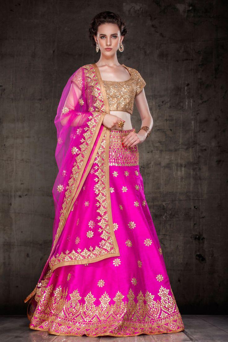 Magenta Raw Silk Wedding Lehenga Choli 63263