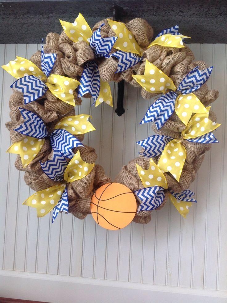Burlap basketball wreath, custom sports team wreath, football, baseball, soccer, hockey, cheerleading wreath, school colors wreath by TheOrnateDoor on Etsy