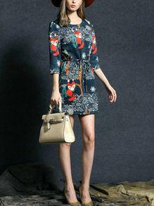 Fox Print Self-Tie Dress