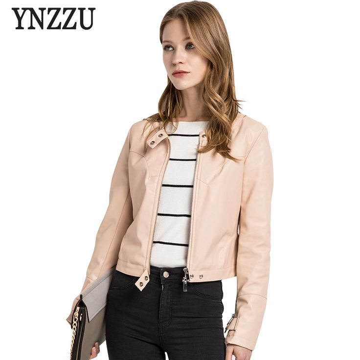 >> Click to Buy << YNZZU Fashion Women Leather Jacket 2017 New Autumn Pink Casual Long Sleeve O Neck Female Leather Jackets Coat Outwears O230 #Affiliate