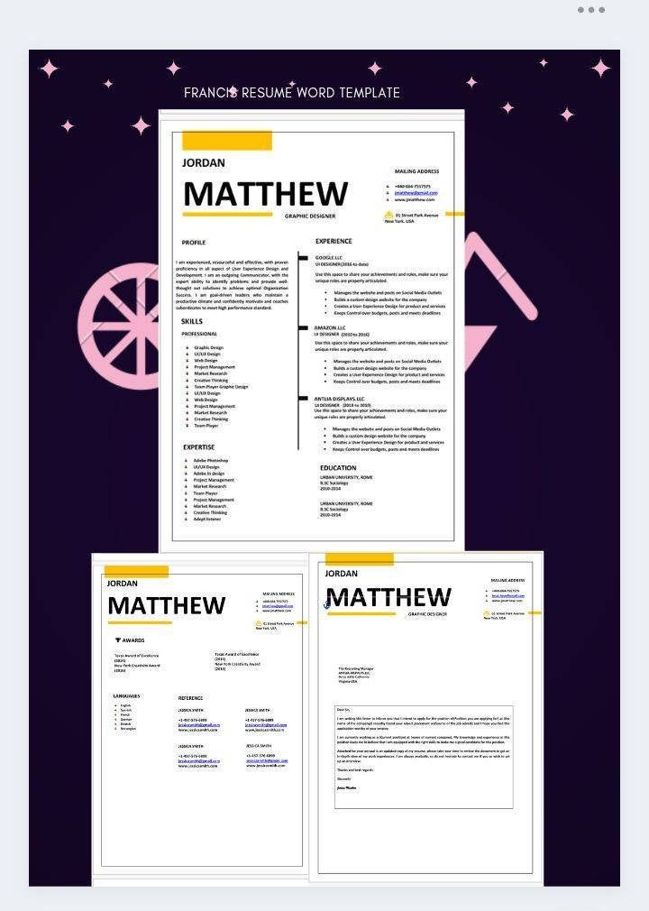 Resume Template Cv Word Document Download Cv Francis Etsy Cv Words Cover Letter For Resume Cv Template Word