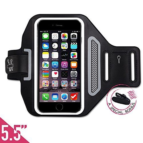 """$1.99 (75% Off) on LootHoot.com - FREE Headset Clip +ID/Card/Cash Holder,Tripky Sports Armband for iPhone 6 Plus, 6s Plus (5.5""""), Galaxy S6/S5, Note 4 Touch Compatible , Water Resistant For hiking,Biking,Walking(Black)"""