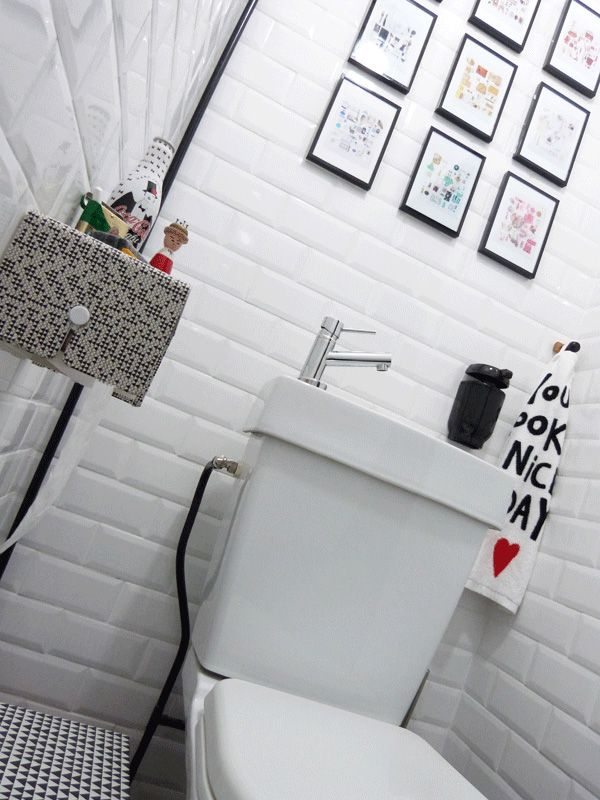 149 best Toilette \ WC stylés images on Pinterest Bathroom, Half - Comment Decorer Un Grand Mur