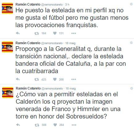Ramón Cotarelo no ha ignorat el debat generat al voltant de la prohibició d'estelades i ha volgut fer un gest per refusar la decisió de la delegada del govern espanyol a Madrid, Concepción Dancausa. L'intel·lectual madrileny s'ha canviat la fotografia de perfil del Twitter i ara en fa servir una on es veu una estelada amb una imatge del propi Cotarelo. Un gest simbòlic que ja ha generat reaccions de suport i rebuig a Twitter.