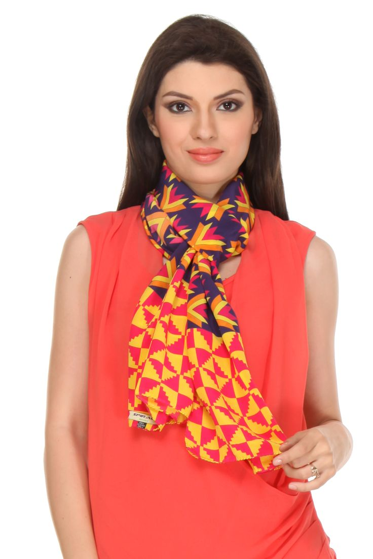 Phulkari Scarf This digital printed crepe silk scarf gets its design inspiration from Phulkari, a traditional embroidery technique of Punjab which literally means flower work.