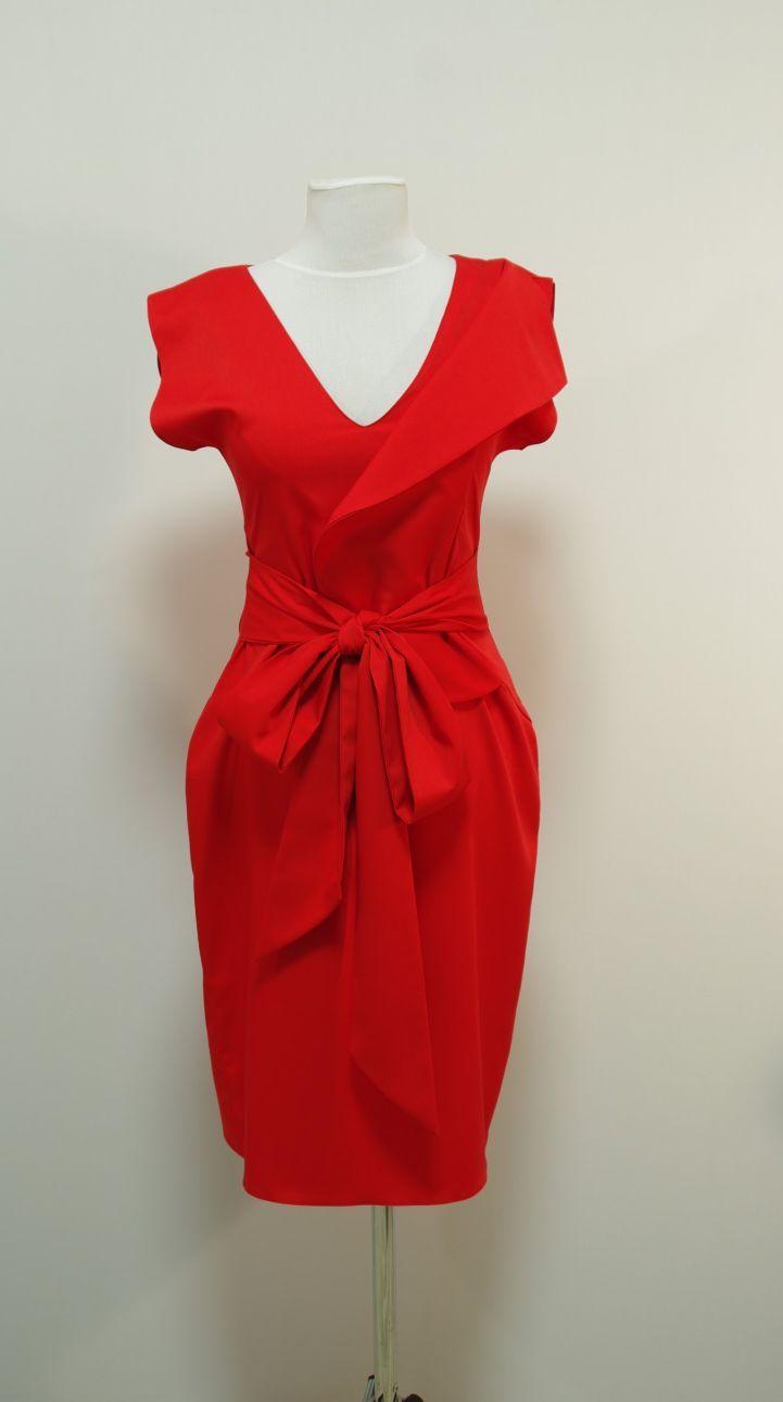 Красное платье оттенка моркови, волан с имитацией жакета   Платье-терапия от Юлии