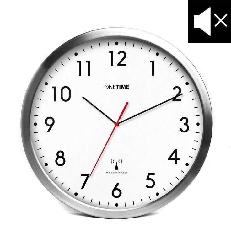 Amazon.de: ONETIME MNU 3300 Weiße Funkwanduhr aus Aluminium mit lautlosem Sweep Uhrwerk 12 Zoll (Ø)
