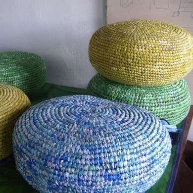 great chair made of grocery bags, and filled with grocery bags!  would be perfect for outside