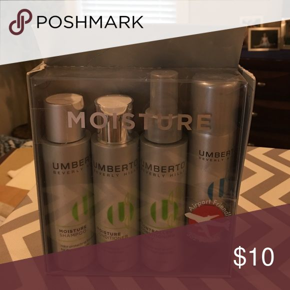 Umberto Hair Travel Set Umberto Hair Travel Set; Shampoo 3 oz, Conditioner 3 oz, Conditioning Spray 3 oz, and Super Hold Hairspray 2 oz.; box has mild Wear from being stored, but products are completely new and not used Umberto  Makeup