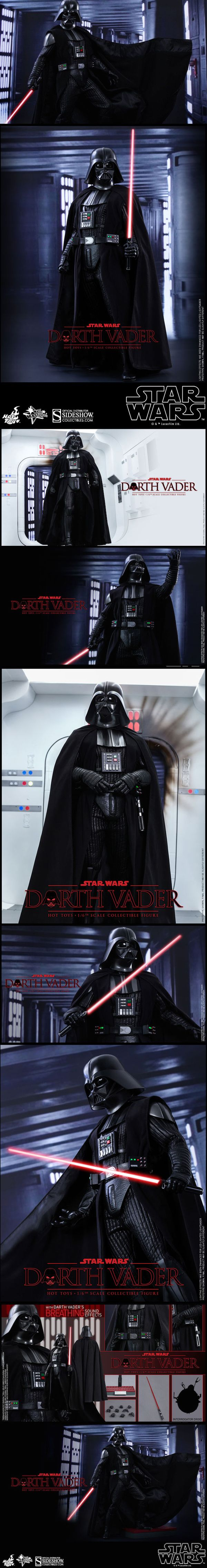 "The New Hot Toys Darth Vader Figure Will Rule Your Toy Shelf This figure includes, ""intricately-constructed Darth Vader armor and helmet, specially tailored suit, built-in sound effect function with Darth Vader's breathing sound, LED-lighted lightsaber and belt, a finely made Interrogator Droid, and a specially designed figure stand."" Read more at http://nerdapproved.com/approved-products/the-new-hoy-toys-darth-vader-will-rule-your-toy-shelf/#6XXHltwRuWfdVGU5.99"