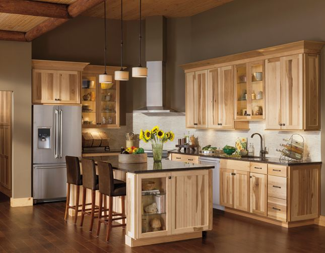 Ideas for Inspiration | American Woodmark Shorebrook Cottage Charm; Hickory Cabinets in a Natural Finish