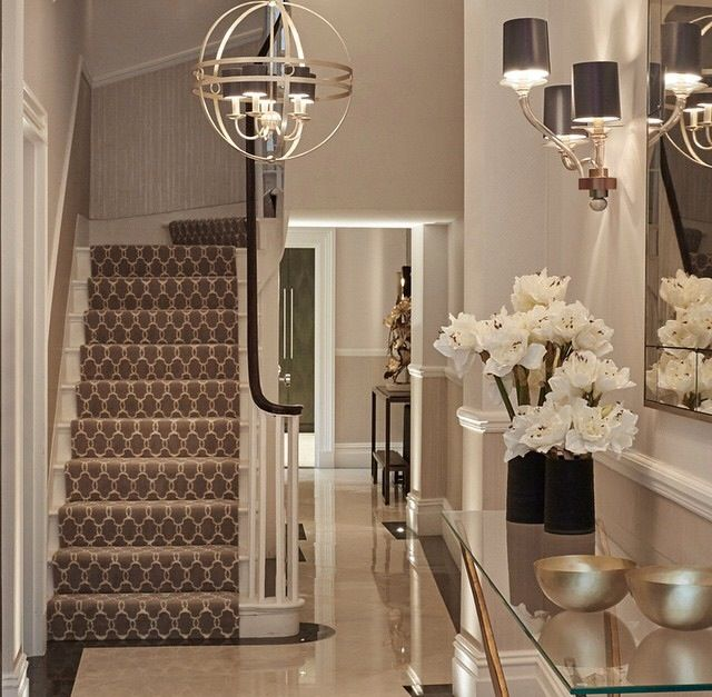 First Impressions 10 Ideas For Entrance Hallway Decor: Foyer Ideas. Wall Sconces. Modern Glam Decor. Geometric