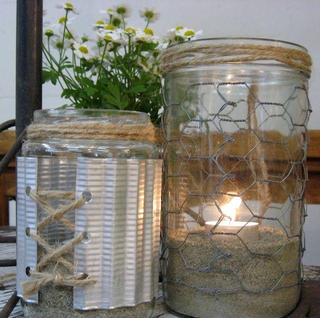 mason jar and chicken wire chandeliers | Jars with chicken wire, jute twine and corrugated metal | mason jar