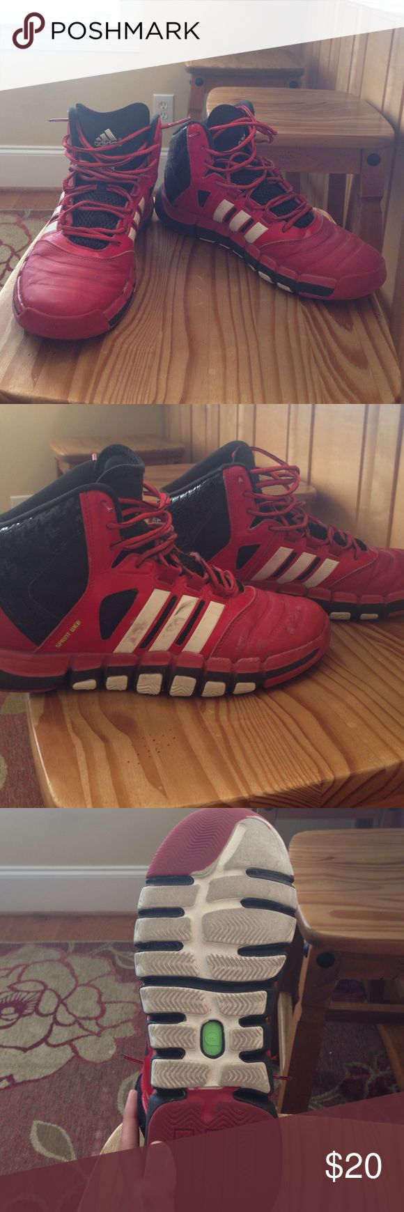 Men's Adidas basketball shoes Red and black Adidas basketball shoes size 9.5. Style is techfit. Some scuffs on outside of both shoes as seen in pictures. Adidas Shoes Athletic Shoes