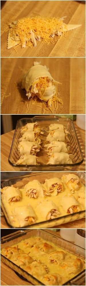 2-3 chicken breasts,  baked or boiled and then shredded. 1 tube of crescent rolls, 1 can cream of chicken soup, Shredded cheddar cheese. Preheat oven to 375, roll up cheese and chicken in each crescent. Place in a 13 x 9 baking dish, mix 1/2 cup water with the soup and pour over all. Bake for 20-25 min or until golden brown. Easy and tasty! by RioLeigh
