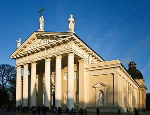 """The Cathedral of Vilnius in Neoclassical style. Neoclassicism is the name given to Western movements in the decorative and visual arts, literature, theatre, music, and architecture that draw inspiration from the """"classical"""" art and culture of Ancient Greece or Ancient Rome."""
