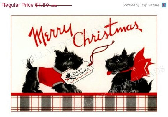 ON SALE Christmas Scotty Dogs Wish You Merry Christmas Antique Postcard Digital Image Download No. 1801