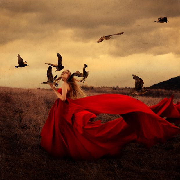 Brooke Shaden self portrait.. Love the fabric flow and birds and setting! good informative reference material for sure!!