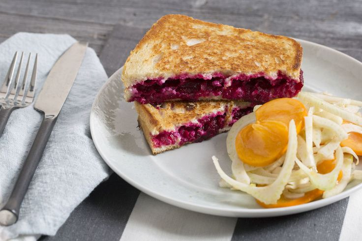Grilled Ricotta Cheese & Beet Sandwiches with Persimmon & Marinated Fennel Salad