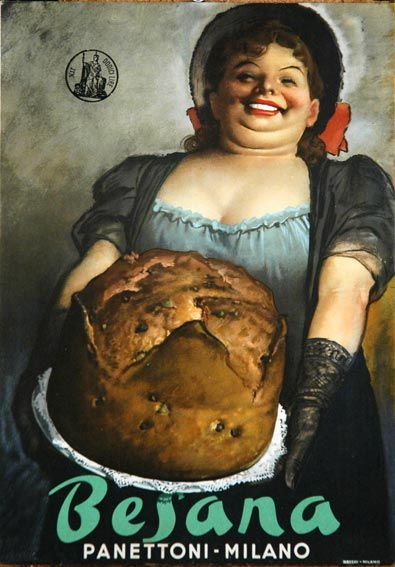 Vintage Italian poster for Besana Panettoni, Milano (c.1950) by Italian graphic designer and illustrator Gino Boccasile (1901-1952). via poster classica