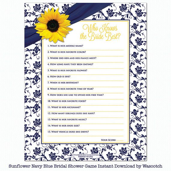 Sunflower Navy Blue Floral Ribbon Bridal Shower Game Who