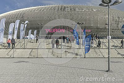 Tauron Arena in Cracow. Modern entertainment and sports venue. The biggest one in Poland.