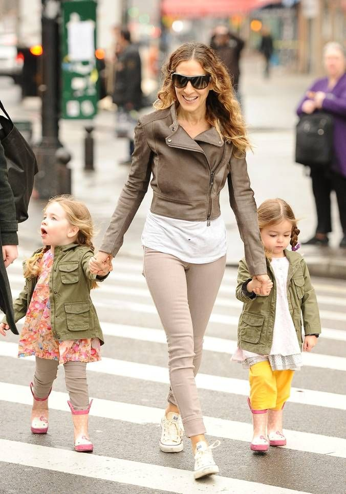 Sarah Jessica Parker and child wearing Belstaff
