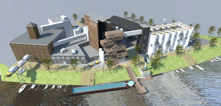 Schets van de plannen voor De Heus, oud bedrijventerrein komt weer tot leven in 's-Hertogenbosch