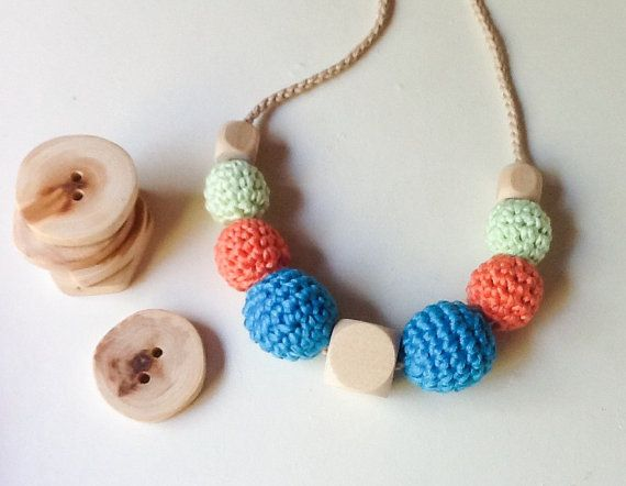 Crocheted Nursing Necklace by Snorkovna 19$  Eco teething toy for baby. Trendy jewerly for breastfeeding mommies. Modern natural hipster accessory.
