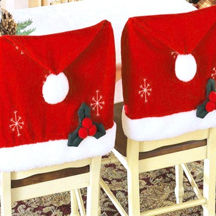 Купить товар50*40 см Прекрасный Рождественский Чехлы на стулья Санта Клауса Рождественские Украшения Столовой Стул Cover Главная Партия Декор в категории  на AliExpress.