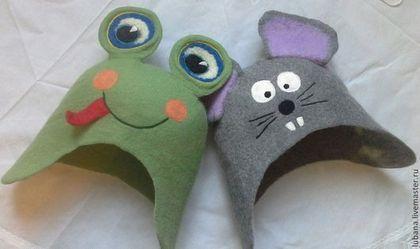 """Банные принадлежности ручной работы. Ярмарка Мастеров - ручная работа. Купить шапочки для бани """"мышка-норушка и лягушка квакушка"""". Handmade."""