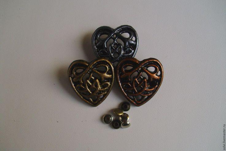 """Купить Заклепка """"Кельтское сердце"""" - серебряный, Ремни, браслеты, ножны для ножей, средневековье, олово с покрытием"""