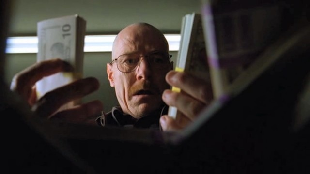 Great reaction shot of Walter White reacting to his blood money.... and its a great show