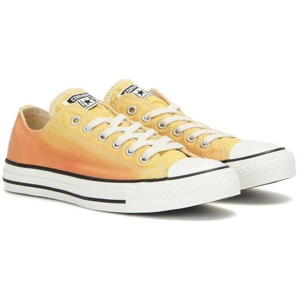 Converse Chuck Taylor Ox Cactus Blossom Sneakers ($82) ❤ liked on Polyvore featuring shoes, sneakers, yellow, yellow shoes, yellow sneakers, blossom shoes, blossom footwear and converse shoes