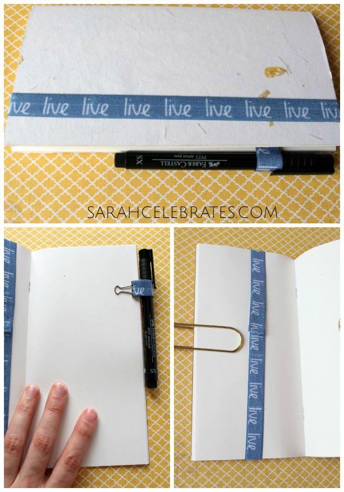 DIY Travelers Notebook Accessories - Notebook with elastic bookmark and binder clip pen loop | Sarah Celebrates