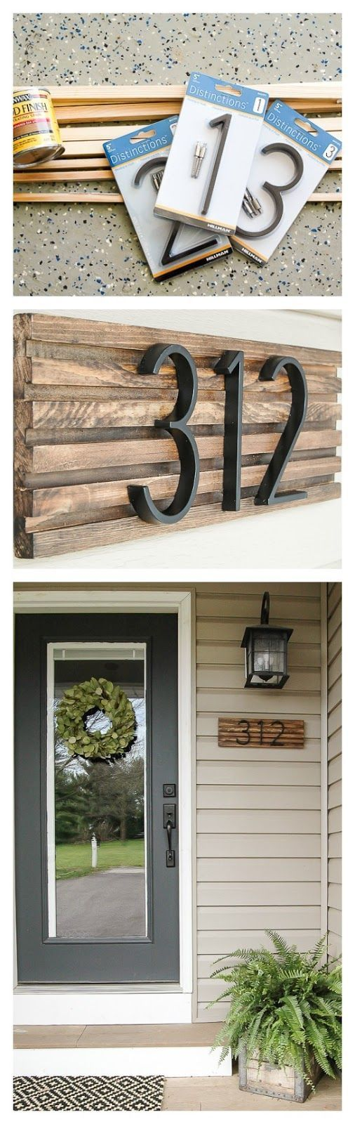 How to make a modern house number sign from square dowels. www.littlehouseoffour.com