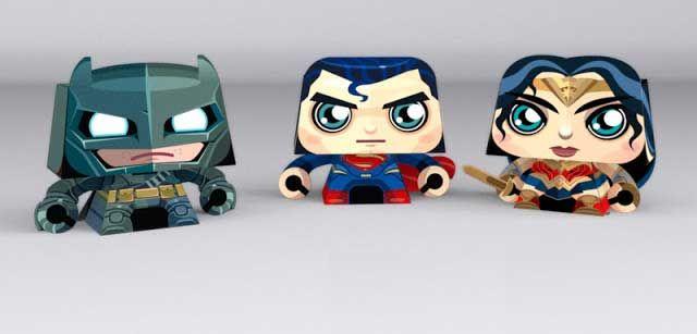 Batman v Superman - Chibi Superman, Batman and Wonder Woman Free Paper Toys Download