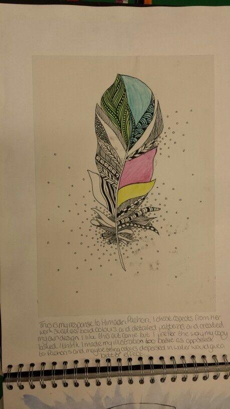 Lauren Heward #feathers #fineliner #zentangle