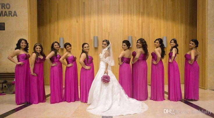 2017 Fuchsia Bridesmaids Dresses Sexy A Line Sweetheart Sequins Back Floor Length Chiffon Plus Size Maid Of Honor Gowns Bridesmaid Gowns Bridesmaid Dresses Children Bridesmaid Dresses Maternity From Faithfully, $92.47  Dhgate.Com