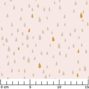 Pluie d'or - Polycoton Gold Nude x10cm Tissu pour hochet de dentition ou sac à langer origami