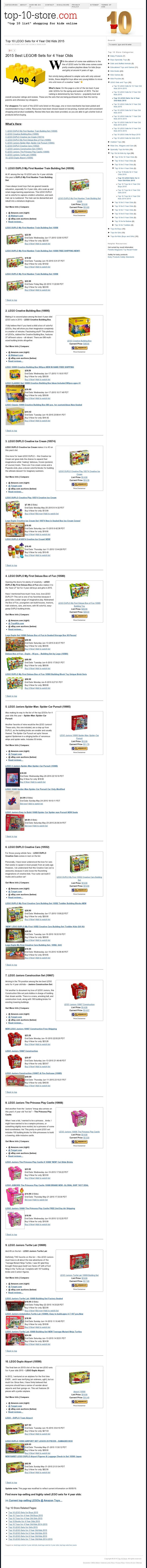 2015 Best LEGO® Sets for 4 Year Olds - Top 10 List @ Top 10 Store