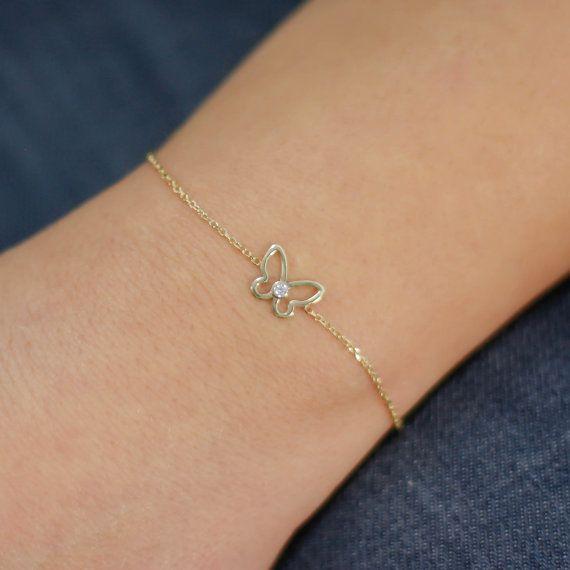 Butterfly bracelet 14K solid gold white by KyklosJewelryLab